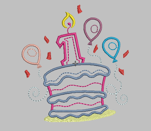 first birthday embroidery design